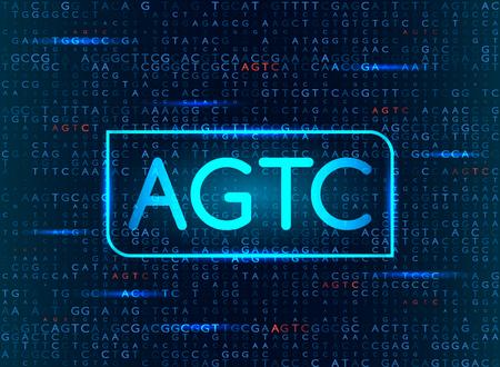 Sequenziamento del DNA con la formula AGTC. background medico moderno. illustrazione vettoriale