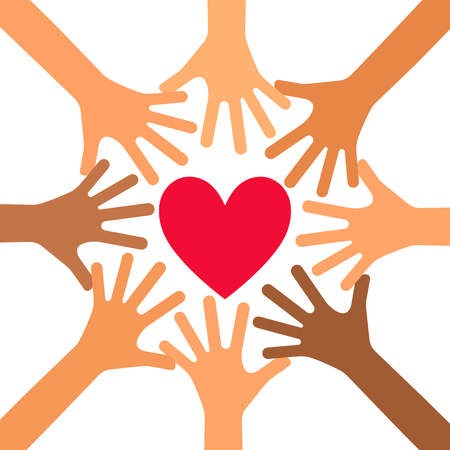 The hand of a volunteer. the concept of charity. flat vector illustration