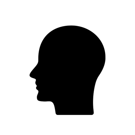 black silhouette of the profile of the human head. black and white background
