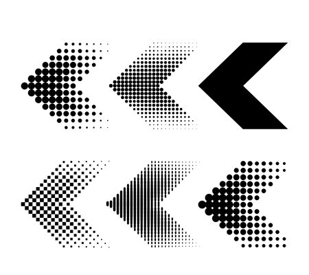 a set of modern arrows in the style of halftones. black and white background 向量圖像