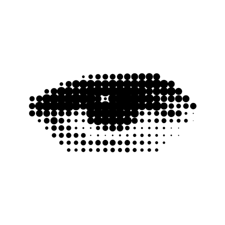 The human eye, a drawing in a modern halftone style. black and white background