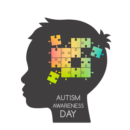 Unfinished puzzles in a child's head. The concept of children suffering from autism or Down Syndrome. black and white background Illustration