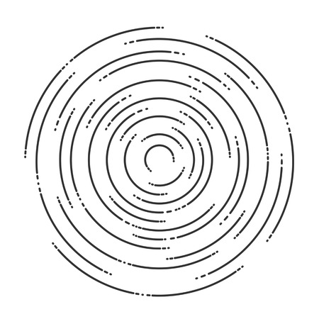 Concentric rotating circular geometric figure of a tornado or vortex. vector illustration isolated