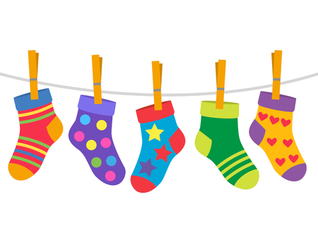a set of children's socks are dried on a rope. black and white background Ilustração