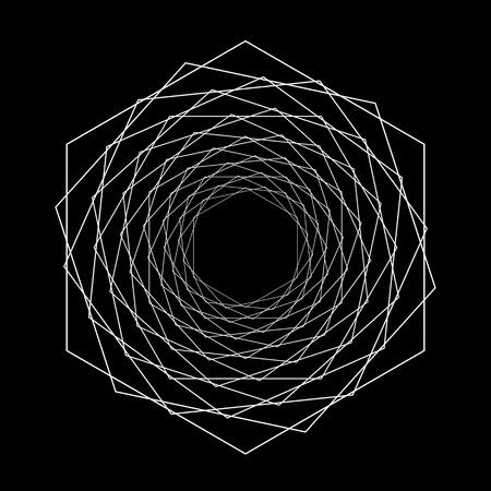 Spiralgeometrische psychedelische Figur. optische Täuschung. flache Vektorillustration