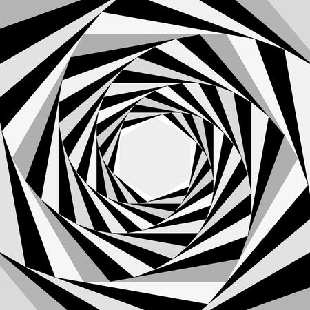 Figura psichedelica geometrica a spirale. Illusione Ottica. illustrazione vettoriale piatta