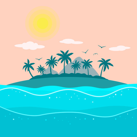 tropical island with palm trees and ocean. holiday concept and a day off. flat vector illustration