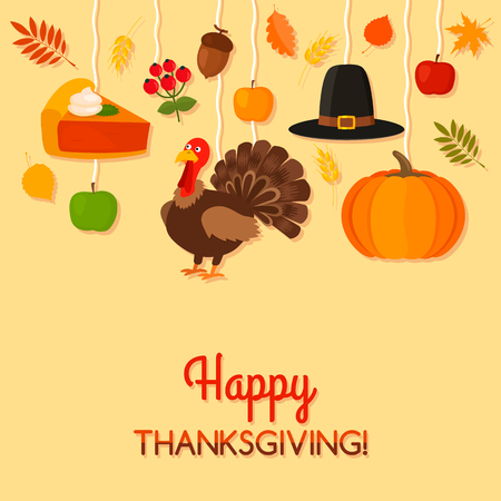 Greeting card or banner with the Happy Thanksgiving holiday. Funny turkey, hat, pumpkin, apples and falling leaves on a postcard. black and white background
