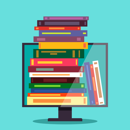 Electronic library, electronic books. The concept of online education. flat Vector illustration. Ilustração