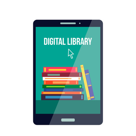 Mobile online, library in the smartphone. Book online store. E-book concept.plan vector illustration