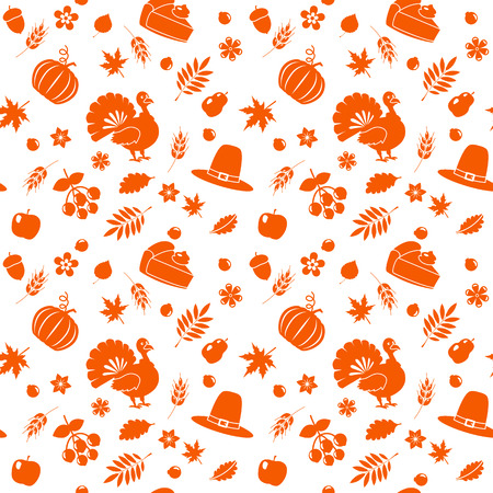 Seamless autumn pattern for Thanksgiving. flat vector illustration