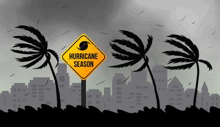 Tornado-orkaan Florence, afkomstig uit de oceaan. Enorme golven op de huizen aan de kust. Tropische ramp en een teken van catastrofe en waarschuwing. Flat vector illustratie. Vector Illustratie