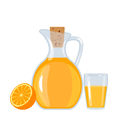 Fresh orange juice in a jug and a glass with orange. flat vectorial illusion isolated on white background