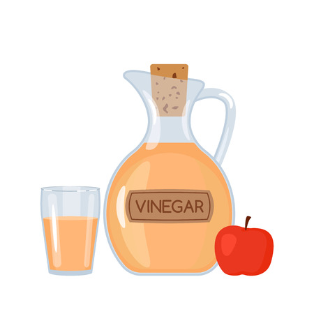 Apple vinegar in a bottle and a glass with an apple. A flat vector illustration isolated on white background Çizim