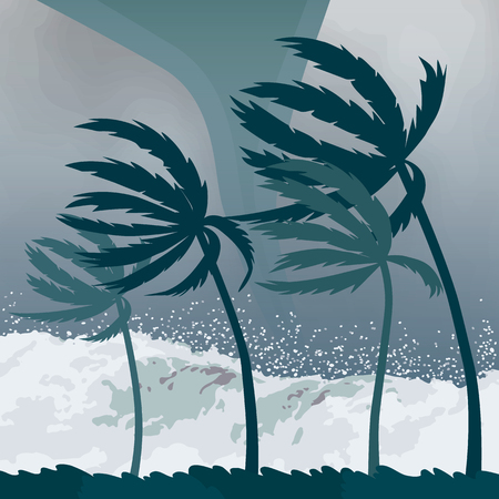 Tornado hurricane Florence, coming from the ocean. Huge waves on the houses on the coast. Tropical disaster and a sign of catastrophe and warning. flat vector illustration