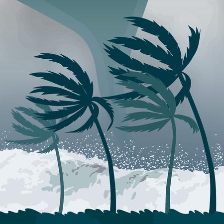 Tornado-orkaan Florence, afkomstig uit de oceaan. Enorme golven op de huizen aan de kust. Tropische ramp en een teken van catastrofe en waarschuwing. platte vectorillustratie
