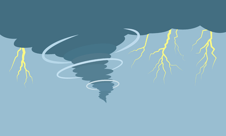 Hurricane and tornado with lightning on the background of the dark sky. flat vector illustration