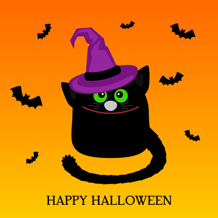 Happy Halloween. A funny cat in the cartoon style in the hat of a witch. Greeting card or banner. Vector illustration isolated on white background Illusztráció