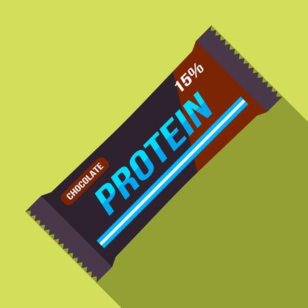 Een reep eiwit in het pakket. Voedsel voor atleten. vector illustratie geïsoleerde illustratie