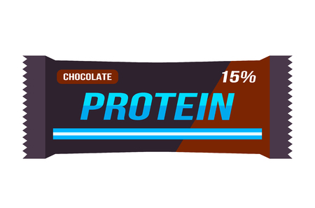 A bar of protein in the package. Food for athletes. vector illustration isolated illustration