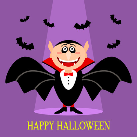 A funny Count of Dracula with fangs and a terrible smile. Happy Halloween! greeting card or invitation. flat vector illustration