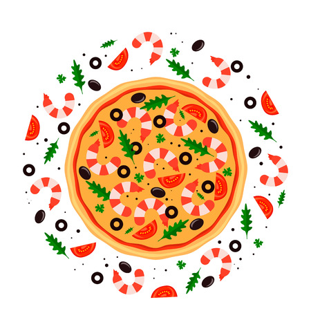 Round Italian hot pizza with seafood, shrimps. flat vector illustration isolated on white background. poster for pizzerias