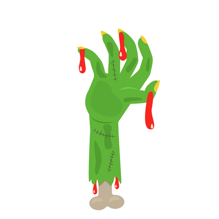 hand of a zombie or a dead person. Halloween concept. flat vector illustration isolated on white background