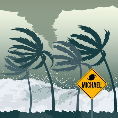 Tornado hurricane Michael, coming from the ocean. Huge waves on the coast. Sign of catastrophe and warning. flat vector illustration