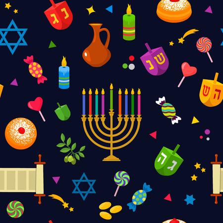 Seamless texture - Jewish holiday of Hanukkah. Traditional symbols of the icon - dreidl, sweets, donuts, menorah, Star of David. Flat vector illustration isolated