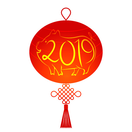 Traditional Chinese lantern with a knot in a flat style. Carved pig out of paper with numbers. Happy Chinese New Year 2019. flat vector illustration isolated on white background.