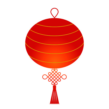 Traditional Chinese lantern with a knot in a flat style. vector illustration isolated on white background