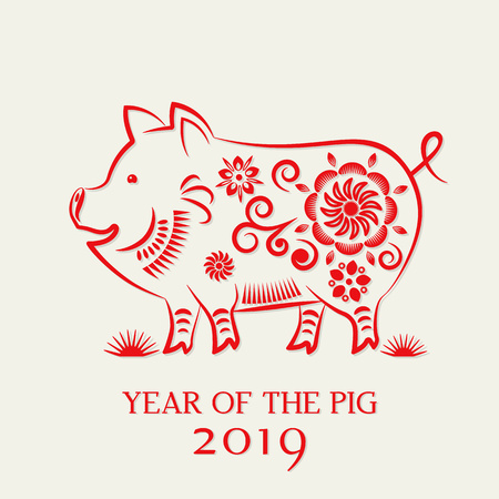 Chinese traditional zodiac sign Cutted pig from red paper. Happy Chinese New Year 2019. flat vector illustration isolated on white background