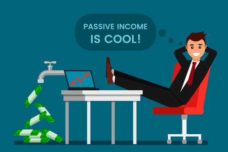young man rests and rejoices passive income. From the tap fall dollars. The concept of investing and cryptographic. Rising prices for bitcoins. flat vector illustration
