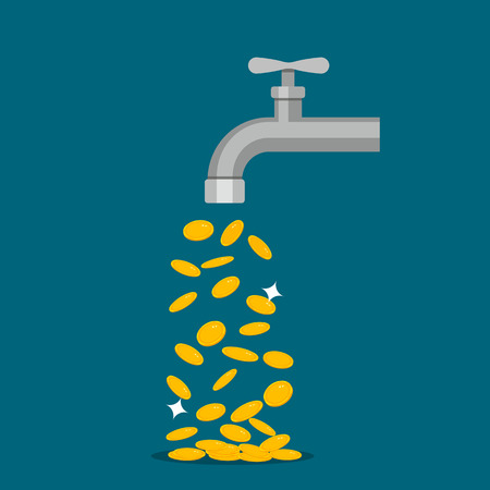 image of a golden coin coming out of a tap. concept of passive income. flat vector illustration isolated on white background