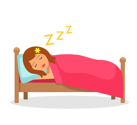 Dziewczyna śpi w łóżku pod kocem. Ilustracja na białym tle wektor w stylu płaskiej kreskówki.