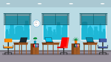 Large windows and a panorama of the city. Vector illustration. Office boss