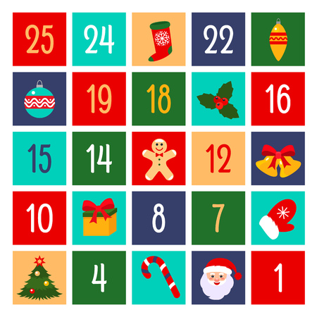 Flat design of fun advent calendar. vector illustration. Christmas holidays concept