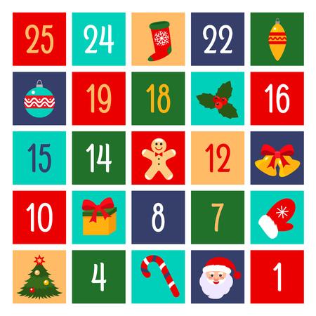 Flat design of fun advent calendar. vector illustration. Christmas holidays concept Banco de Imagens - 114438707
