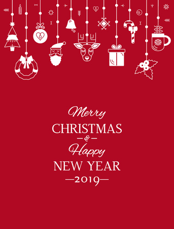 Greeting card or banner with the words We wish you a Merry Christmas and Happy New Year Çizim