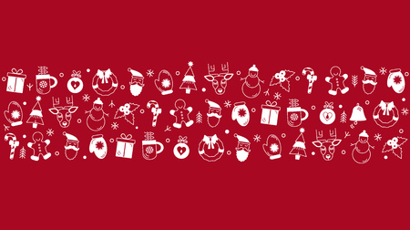 Seamless Christmas pattern in linear style. Christmas stylized garland. flat vector illustration isolated on red background Stock Photo