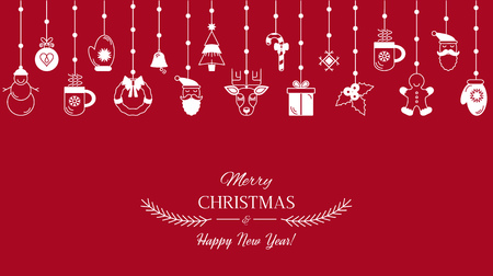 Greeting card or banner with the words We wish you a Merry Christmas and Happy New Year. Abstract Christmas banner with symbols of Christmas. Santa, tree, deer, gift. flat vector in linear style Stock Photo