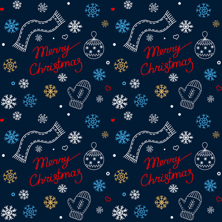 seamless pattern for winter and christmas holidays. Merry whiskey with snowflakes, Christmas ball, inscription, scarf in cartoon style. Ilustrace