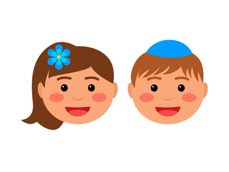 smiling faces of jewish children. the boy is wearing a kippa. flat vector illustration isolated on white background