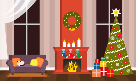 Happy Holidays greeting card or poster. The interior of the living room on Christmas Eve - a sofa, fireplace, Christmas tree with gifts. flat vector illustration isolated 版權商用圖片
