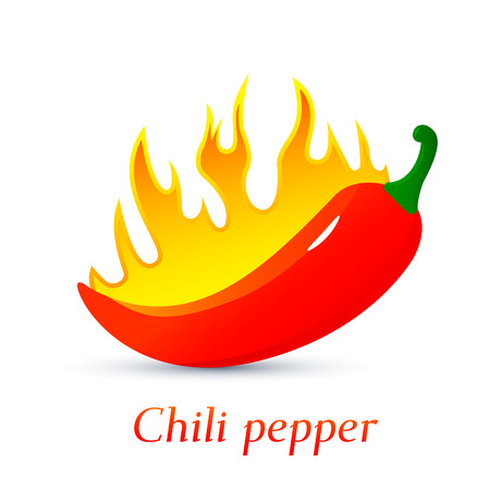 Red burning hot chili pepper. flames of fire engulfed vegetables. flat vector illustration isolated on white background