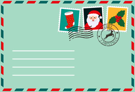 dear santa, envelope with stamp. letter of desires. flat vector illustration