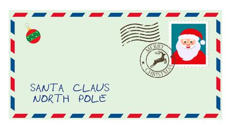dear santa, envelope with stamp. letter of desires. flat vector illustration