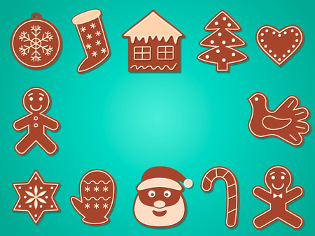 Christmas banner, a set of Christmas gingerbread with sugar glaze. vector illustration Ilustração