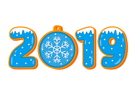 Funny inscription gingerbread gingerbread 2019. the concept of the new year. flat vector illustration isolated. New Year's decoration - Vector illustration Иллюстрация