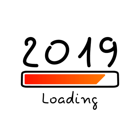 New year 2019 loading. Flat vector illustration isolated on white background. - Vector illustration